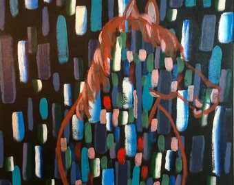 The horse and rain -  Original Abstract Art, Acrylic painting on canvas