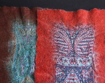 Silk and felt shawl