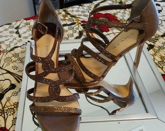Brown satin rhinestone strappy heels