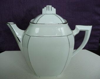 Vintage French Art Deco White Porcelain And Platinum Limoges  Tea / Coffee Pot c1920's