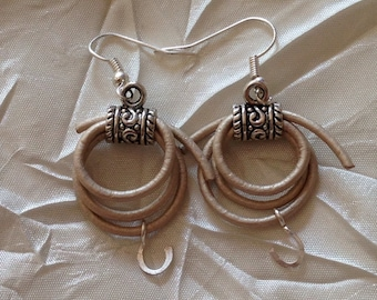 Leather Lasso Horseshoe Earrings