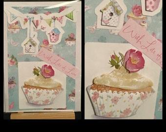Birthday card, Handmade birthday card, birthday cake card, cupcake card, with love, cake lovers card