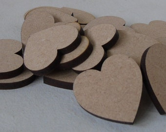 10 (3cm) Wooden Heart Shape Craft Tag Wedding embelishment