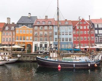 Copenhagen, Nyhavn, Denmark, Colorful Houses, Facade, Windows, Sail Boats, Wall Art, Print, Photograph, Fine Art, Travel, Pattern