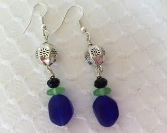 Blue and green seaglass dangle earring