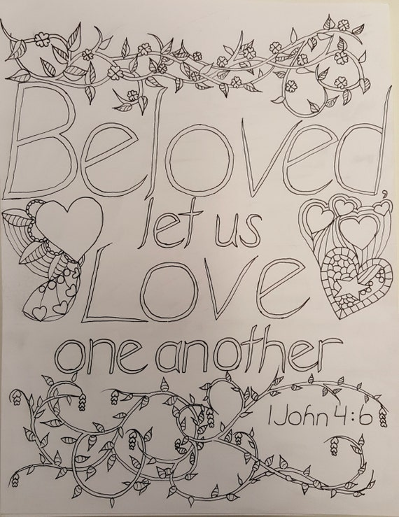 Beloved let us love one another a biblical coloring page for Love one another coloring pages