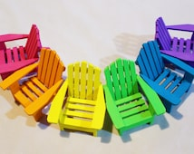 1 Miniature Adirondack Chair, Hand Painted, Rainbow Colors, Miniature Landscapes, Fairy Gardens, Dollhouse Miniatures, Wedding Cake Topper