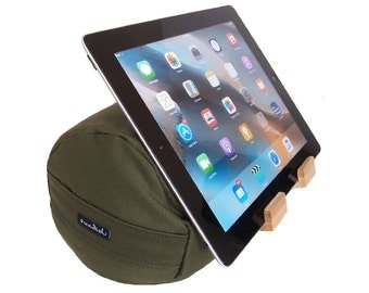 The EZread Tablet Bolster by Swadeshi Yoga - Made in USA - Perfect for Bed - Ergonomical and Eco-Friendly Design    (Olive Green)
