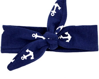 Navy and White Archor Knot Top Headband