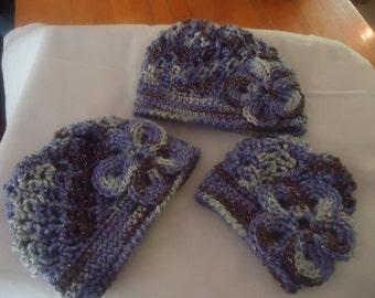 Handmade crocheted set of 3 hats