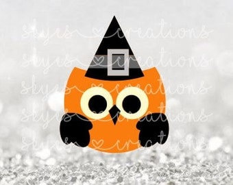 Halloween owl, cute owl, black and orange, owl, halloween, svg