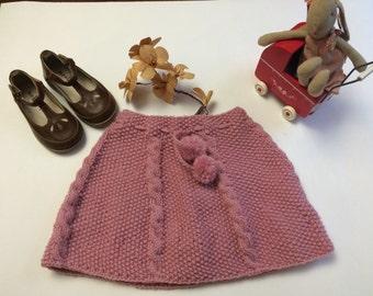 Pink handmade knitted skirt  12-20 months .
