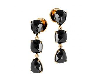 14k Gold Stud Earrings, black Diamond pear stud jewelry, fashion Diamond Earrings