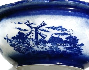Vintage Delft Wash Basin Stoneware Bowl Blue and White Succulent Planter Dutch Windmill Pottery Fruit Bowl Shabby & Chic Farmhouse Decor