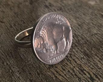 Silver Buffalo nickel ring(buffalo side)