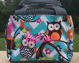 owl lunch bag,insulated lunch bag,food storage,luncbox,owl lunchbox,back to school,picinic bag,owls,field trip lunch,multicolored owls