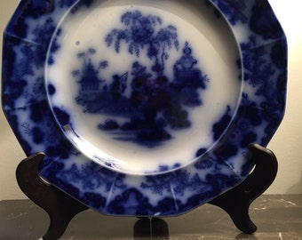 "Scinde 9.5"" Flow Blue Plate circa 1844"