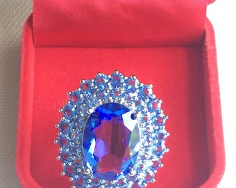 Alluring !Tanzanite 925 Sterling Silver RING SIZE 9 ( SIZABLE)