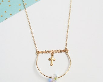 Necklace chains of gold plated cross 14carats