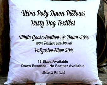 16x16 Inch Ultra Poly Down Pillow Insert - 50% Poly & 50 - 10/90 White Goose Down Feather