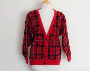 1980s Katies Red Plaid Knit Cardigan Vintage