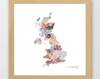 United Kingdom map  print, UK painting, map of United Kingdom, Painting of UK, UK poster, Giclee Fine Art, Flowers composition