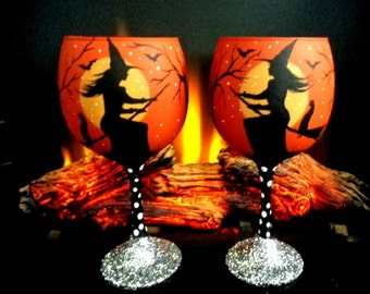 Set of 2- halloween witches Wine glasses  *by Peggy G*