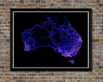 Roads of Australia map   3x high resolution digital Australia art   Australia poster   Wall art   Map art   Map print   Unique gift idea