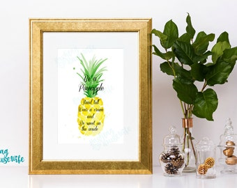 """Instant Download Printable Art """"Be a pineapple"""" quote art instant digital download 5x7"""