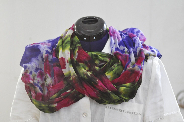 silk shibori scarf dyed silk scarf purple fuschia