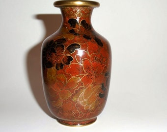 Jingfa Vase ~ Brown Cloisonne Floral Pattern ~ Four Inches Tall