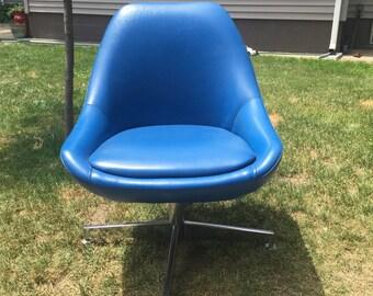 Mid Century AllSteel Blue Vinyl Chair
