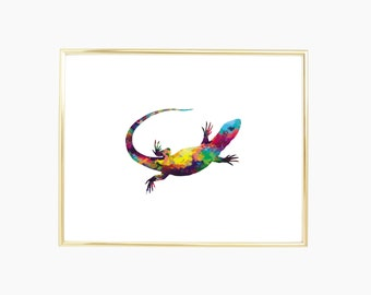 Lizard - Digital Print and Poster - Drawing & Illustration - Wall Art - Printable Artwork - All Popular Sizes