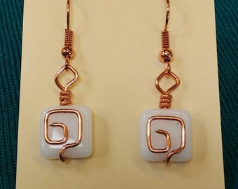 Square white and copper earrings