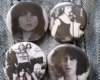 Your choice Chrissie Hynde Kathleen Hanna The Runaways Patti Smith handmade 1-1/4 inch pinback button pin buttons pingame badge badges