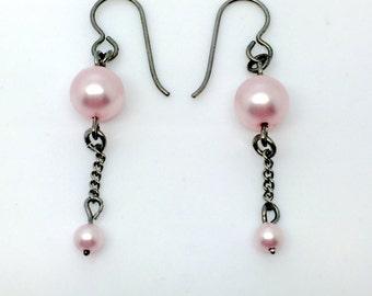niobium earrings with pink swarovski pearls