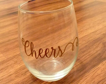 Cheers Stemless Wine Glass / Stemless Wine Glass / Cheer Wine Glass / Fancy Cheers Wine Glass / Personalized Wine Glass