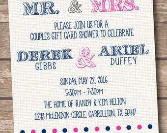 couples wedding shower bridal shower invitation gift card shower printed and printable