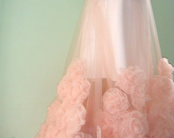 Long skirt tulle Skirt with train Custom Wedding skirt Floral skirt Tulle skirt Skirt to order