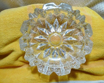 Vintage Thick & Heavy Cut Glass Ashtray
