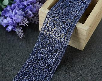 "5 yard 4.8cm 1.88"" wide dusk blue embroidery lace trim ribbon L22K282 free ship"