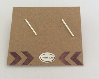 Sterling Silver 925 Geometric Bar stud earrings