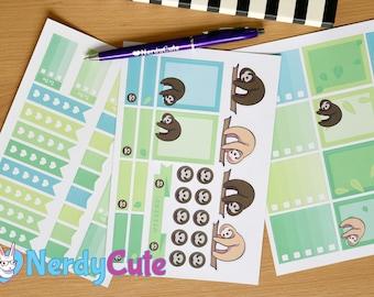 Sloth Planner Sticker Kit - planner stickers, sloth stickers, checklist stickers, lazy day stickers
