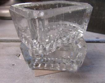 Set of 2 Vintage Glass Salt Cellars