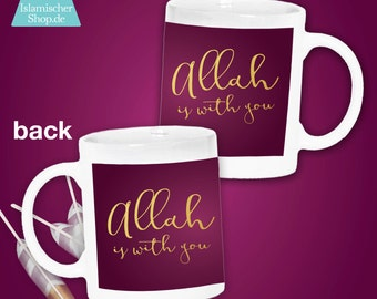 Cup Allah is with you, mug, Islam, gold, Berry