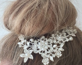 "Bridal ""Erica"" comb hair accessory silver with rhinestone and pearl detailing"