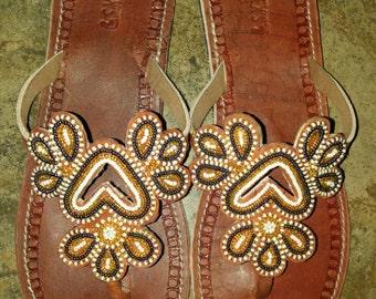 Simba maasai sandals/massai sandals /tribal sandals/beaded sandals / leather sandals