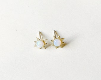 Sun and Opal Stud Earrings // star earrings // October birthstone // sterling silver // gold filled