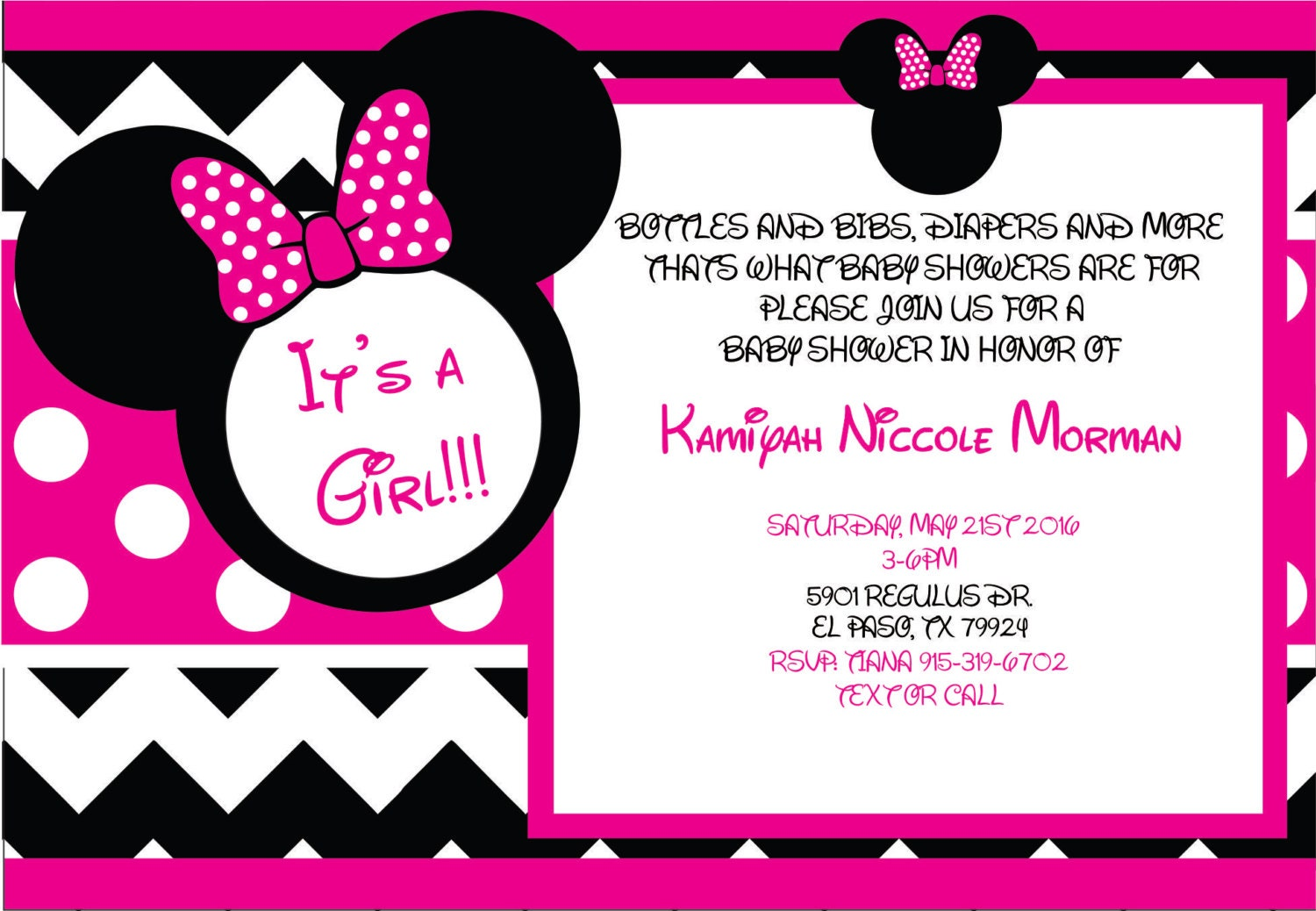 minnie mouse baby shower invites by brescustoms on etsy