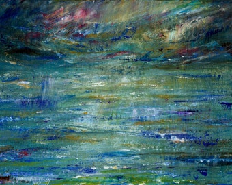 Abstract Seascape Print by Liverpool Artist Kate Chesters